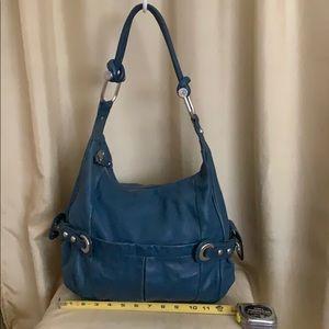 B. Makowsky blue distressed soft leather hobo bag.